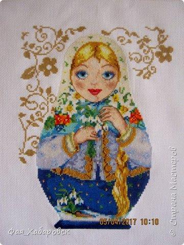 Вышивка  Ангел и снегири. Размер  40 х 27 фото 2
