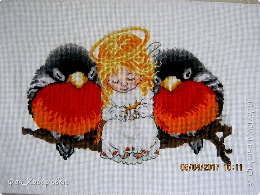 Вышивка  Ангел и снегири. Размер  40 х 27 фото 1