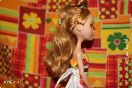 Привет жители страны мастеров)))Давно меня здесь не было(((Но я вернулась(ура!!) И я сдаю работу на Конкурс Кукольная мода.Я сшила летнее(или весеннее) яркое платье...Ну что ж начнем!? фото 4