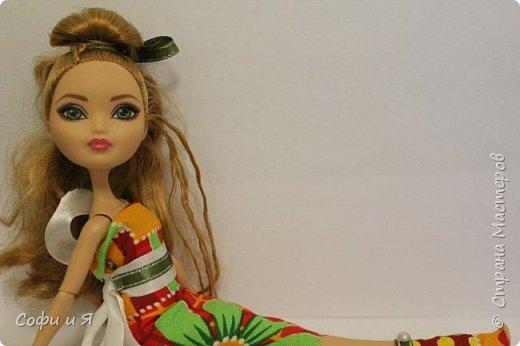 Привет жители страны мастеров)))Давно меня здесь не было(((Но я вернулась(ура!!) И я сдаю работу на Конкурс Кукольная мода.Я сшила летнее(или весеннее) яркое платье...Ну что ж начнем!? фото 16