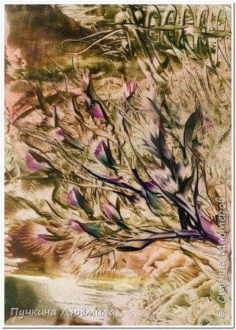 """Куст над озером..."", ф.А.4, картон, утюг, воск фото 1"