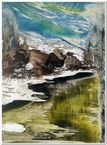 """Куст над озером..."", ф.А.4, картон, утюг, воск фото 3"