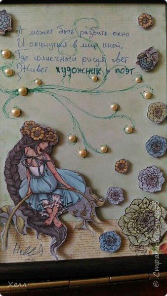 Началось все с такой вот изящной Принцессы из смеси скрап-бумаг, бархатных и с зеркальными крылышками. Сама она небольшая, всего 10*15 см. фото 2