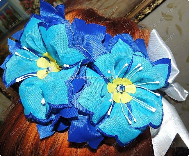 Большие крупные васильки собраны на широкую резинку.Каждый цветок подвижен. фото 1