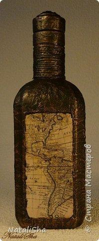 Бутылочка сделана в подарок моему дяде. Мой дядя большой учёный, весьма почтенного возраста, поэтому бутылка сдержанная, без ракушек и прочей морской атрибутики. фото 1