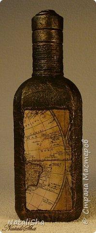 Бутылочка сделана в подарок моему дяде. Мой дядя большой учёный, весьма почтенного возраста, поэтому бутылка сдержанная, без ракушек и прочей морской атрибутики. фото 2