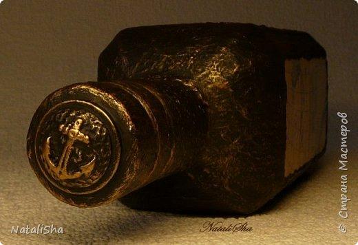 Бутылочка сделана в подарок моему дяде. Мой дядя большой учёный, весьма почтенного возраста, поэтому бутылка сдержанная, без ракушек и прочей морской атрибутики. фото 6