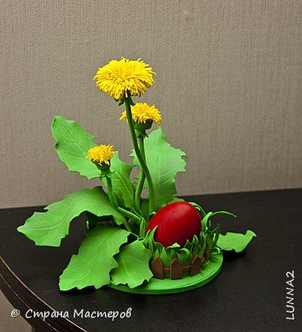"""Подставочка для пасхального яйца """"Одуванчики""""  сделана из иранского фоамирана. фото 2"""