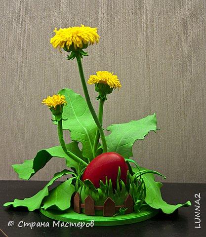 """Подставочка для пасхального яйца """"Одуванчики""""  сделана из иранского фоамирана. фото 3"""