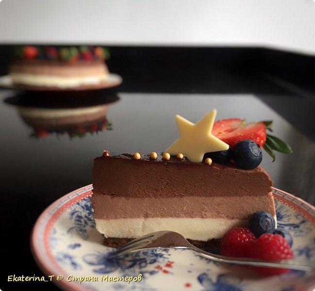 """Легкий чизкейк """"Три шоколада"""", без выпечки, со ссылкой на рецепт! фото 1"""