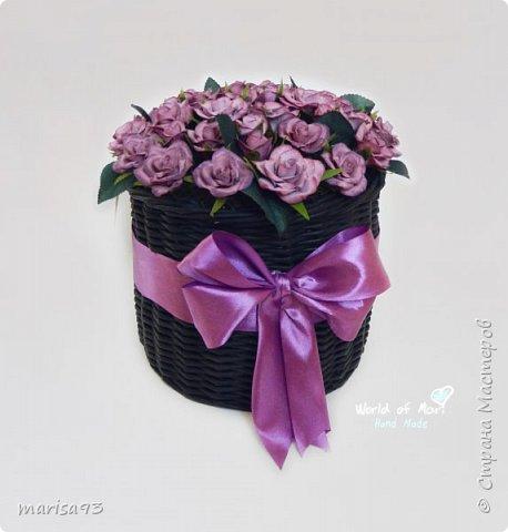 Сиреневые розы в черном цилиндре  фото 3