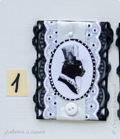 Здравствуйте. Сегодня я хочу показать новую серию АТСок. Я сделала серию из 4 карточек с котами. Два кота чёрные и два белые. Я использовала белое и чёрное кружево и белую ленту. На третьем этапе надо было использовать пуговку. И ещё в моих АТС есть маленькие брадсы. К сожалению все карточки я уже раздала!!! Обмена нет!!! Просто показываю. фото 2
