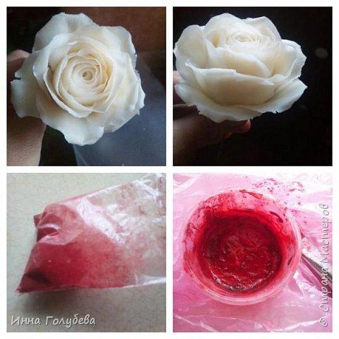 Итак, у меня слепились очередные красные розы на заказ) По их тонировке я сняла небольшоц МК.Надеюсь, пригодится, так как красные розы одни из сложных в тонировке. фото 6
