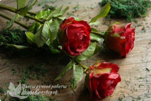 Итак, у меня слепились очередные красные розы на заказ) По их тонировке я сняла небольшоц МК.Надеюсь, пригодится, так как красные розы одни из сложных в тонировке. фото 4