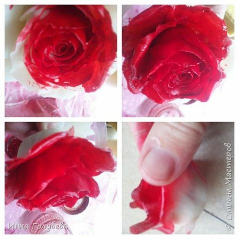 Итак, у меня слепились очередные красные розы на заказ) По их тонировке я сняла небольшоц МК.Надеюсь, пригодится, так как красные розы одни из сложных в тонировке. фото 7
