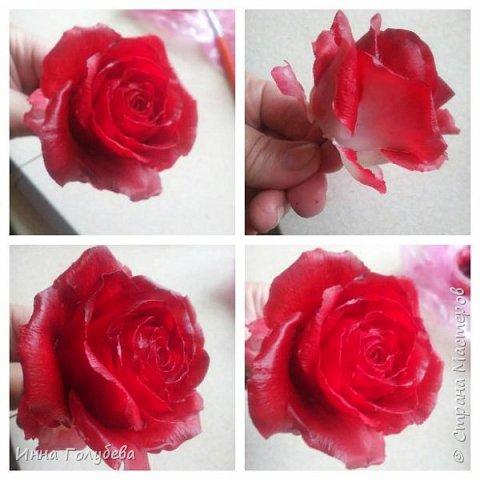 Итак, у меня слепились очередные красные розы на заказ) По их тонировке я сняла небольшоц МК.Надеюсь, пригодится, так как красные розы одни из сложных в тонировке. фото 9