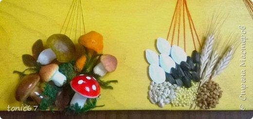 """Совместная поделка с сестрой для племянника в детский садик на тему """"Дары осени"""". Панно в технике string art фото 8"""