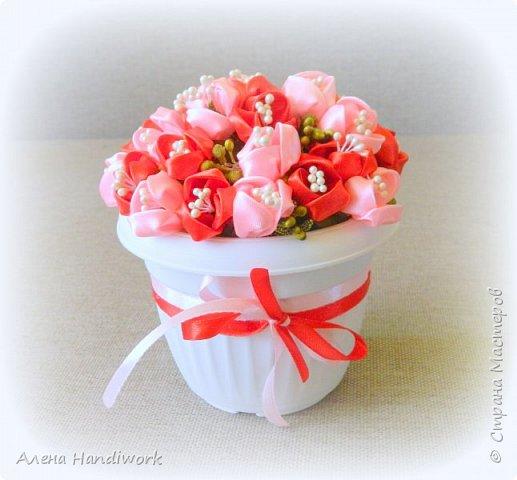 Тюльпаны в горшочке Подарок канзаши