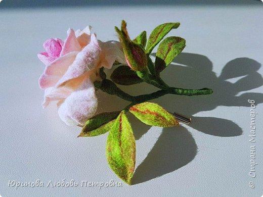 Чайная роза. Элегантный и очень нежный аксессуар-брошь. Шерсть.. фото 3