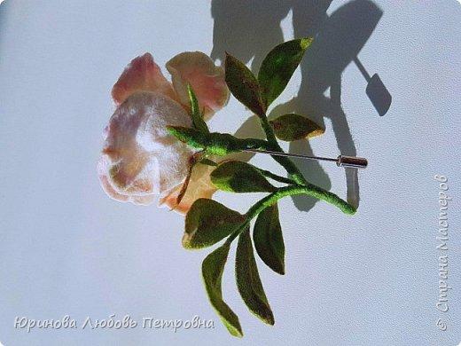 Чайная роза. Элегантный и очень нежный аксессуар-брошь. Шерсть.. фото 7