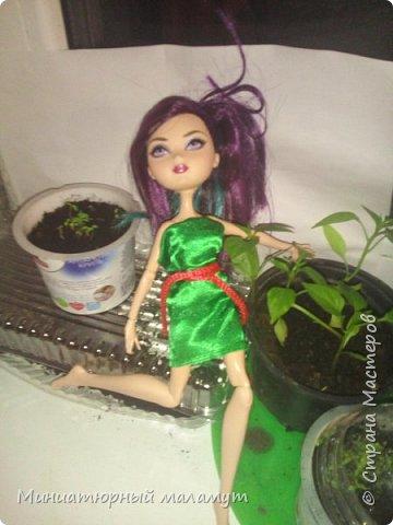 """Привет. Я сдаю вторую работу на конкурс """"Кукольная мода"""". На кукле- зелёное платье и чёрные крылья. фото 2"""