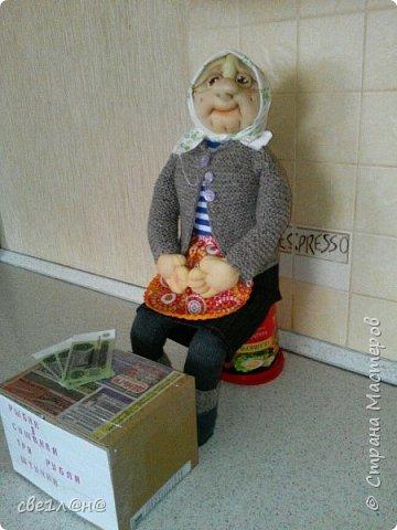 кукла баба Нюра высота куклы сидя 50 см. фото 3