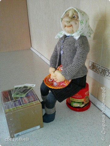 кукла баба Нюра высота куклы сидя 50 см. фото 2