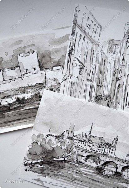 Доброе время суток, уважаемые обитатели СМ!  Долго, очень долго зрел этот маленький проект... после миниатюр с Прагой.  И вот созрел:)  Моя маленькая Франция, нарисованная тушью:)  Франция. Париж. Остров Сите.Ile de la Ciе. В основном все знают его со стороны Notre-Dame de Paris, но, право же, остров хорош с любой стороны. Добро пожаловать в сердце Парижа! фото 11
