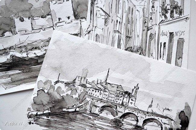 Доброе время суток, уважаемые обитатели СМ!  Долго, очень долго зрел этот маленький проект... после миниатюр с Прагой.  И вот созрел:)  Моя маленькая Франция, нарисованная тушью:)  Франция. Париж. Остров Сите.Ile de la Ciе. В основном все знают его со стороны Notre-Dame de Paris, но, право же, остров хорош с любой стороны. Добро пожаловать в сердце Парижа! фото 10