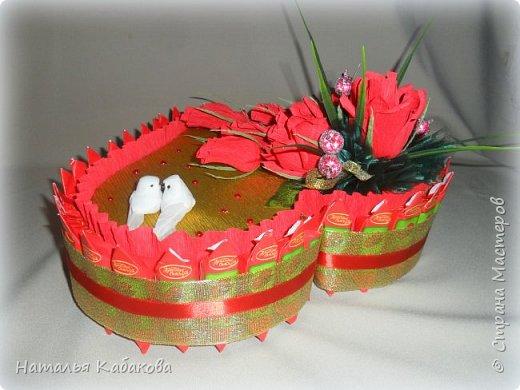 Здравствуйте, дорогие жители и гости этой удивительной страны. Сегодня хочу представить на ваш суд вот такой тортик из конфет. Сделан был по случаю годовщины свадьбы двух замечательных людей. фото 2