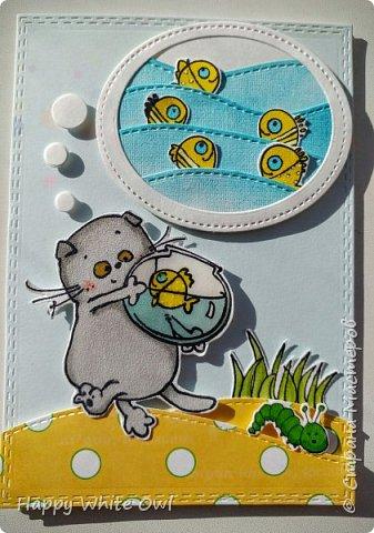 Здравствуйте, дорогие друзья! Сегодня доделала открытку с Басиком, мечтающем о море золотых рыбок. Надеюсь, что пузырь получился нормальным и сразу понятно, что это мысль Басика.  Аквариум, глазки рыбок и Басика покрыты глосси акцентом. фото 1