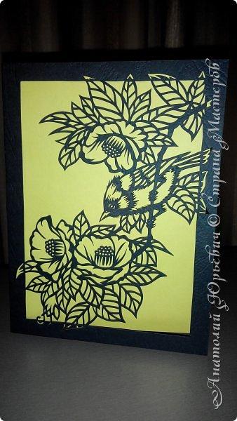 """Всем добрый день! Пришла весна и """"прилетела первая птичка"""".( Yuhina occipitalis - Рыжебрюхая Юхина.-род воробьиных птиц из семейства тимелиевые. Естественная среда обитания — равнинные и горные влажные леса умеренной, тропической и субтропической зон Юго-Восточной Азии).   -Эскиз для """"вырезалки"""" выполнен, изменён и доработан по цветной работе китайского художника Zeng Xiao Lian.  Размер - 12х16см. фото 3"""