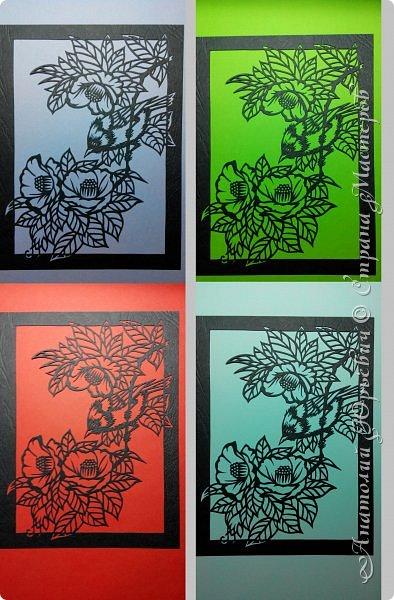 """Всем добрый день! Пришла весна и """"прилетела первая птичка"""".( Yuhina occipitalis - Рыжебрюхая Юхина.-род воробьиных птиц из семейства тимелиевые. Естественная среда обитания — равнинные и горные влажные леса умеренной, тропической и субтропической зон Юго-Восточной Азии).   -Эскиз для """"вырезалки"""" выполнен, изменён и доработан по цветной работе китайского художника Zeng Xiao Lian.  Размер - 12х16см. фото 4"""