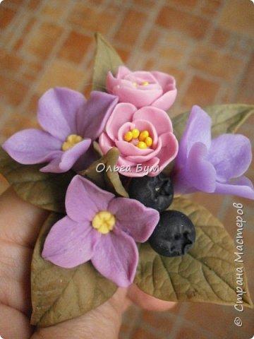Бутоньерка с сиреневыми цветочками фото 2