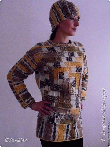 Пуловер из турецкого акрила с шерстью секционно короткой окраски. Пряжа объемная, CRAZY COLOR YARNART: 35% шерсть, 65% акрил. В комплекте с шапочкой, вязаной крючком, и манишкой, вязаной спицами, получается отличный теплый комплект. Весенним прохладным днем меховая жилетка сверху составит отличный ансамбль, позволит вам не одевать куртку и выглядеть нарядно и ярко. Рекомендации по уходу: Стирка при 40 градусах в нормальном режиме. Не гладить! Химчистка кроме трихлорэтилена. Отжим в машине разрешен. не отбеливать! сушка в растянутом виде. Связан на основе  пледа в 10 петель. фото 2