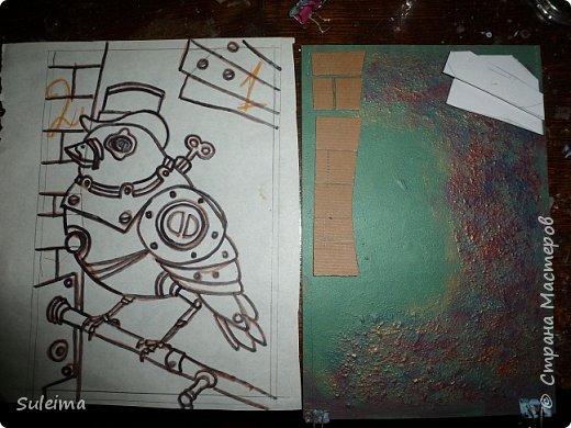 Приветствую всех жителей страны мастеров на моем мастер-классе, по созданию вот такой механической птички.... Нам понадобится рамка с декорируемой поверхностью, картон простой, картон гофрированный, клей титан, момент или резиновый № 88. Клей на водной основе не использую, он размачивает картон, что приводит к деформации изделия.... фото 6