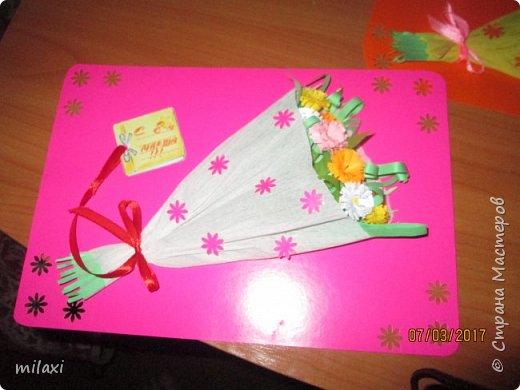 Все открыточки для воспитателей и няни готовы!!!В этом году решили немного скромненько поздравить воспитателей с 8 марта(лимит денег за год был исчерпан),вот и подарили от родителей по букету цветов и по вот такой вот открыточке,которые сделала я сама(я состою в родительском комитете).Вот как то так. фото 2