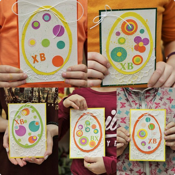 """Со 2 апреля у меня началась подготовка к Пасхе. Я провела 2 мастер-класса. Один для деток от 6, второй от 12 лет. Образец открытки карточки """"Пасхальное яйцо"""" А-ля ЭКО стиль. фото 19"""