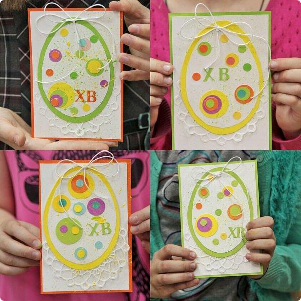 """Со 2 апреля у меня началась подготовка к Пасхе. Я провела 2 мастер-класса. Один для деток от 6, второй от 12 лет. Образец открытки карточки """"Пасхальное яйцо"""" А-ля ЭКО стиль. фото 20"""