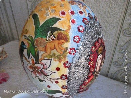"""Пасхальное яйцо . Размер 38 см вместе м подставкой. Подставка ввиде """" каменной вазы"""" фото 4"""
