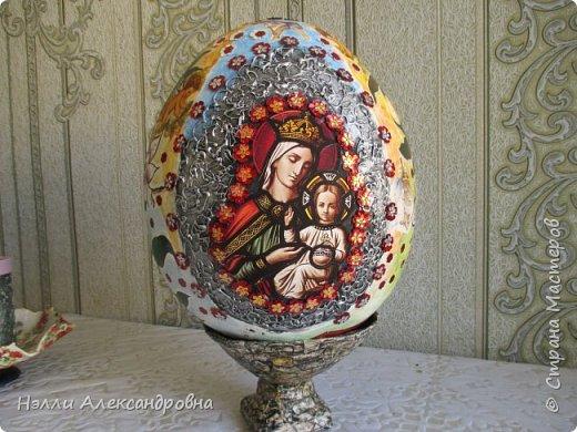 """Пасхальное яйцо . Размер 38 см вместе м подставкой. Подставка ввиде """" каменной вазы"""" фото 2"""