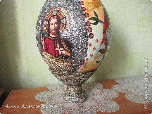 """Пасхальное яйцо . Размер 38 см вместе м подставкой. Подставка ввиде """" каменной вазы"""" фото 9"""