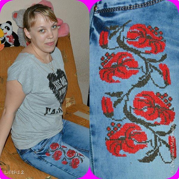 Вот решила украсить джинсовый гардероб. На юбке. фото 2