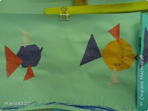 Добрый вечер всем-всем! На занятии по аппликации учились с ребятами вырезать из квадрата круг, из прямоугольника овал, умения свои закрепили в аппликации рыбки. фото 5