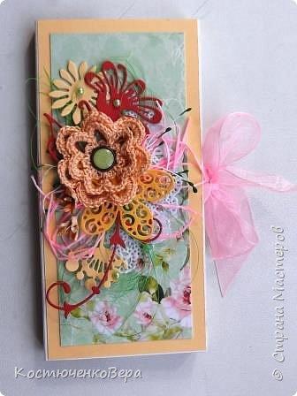 Сделала две весенние шоколадницы. Использовала вязанный цветок, очень хотелось именно с ним сделать композицию. фото 1
