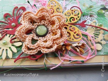 Сделала две весенние шоколадницы. Использовала вязанный цветок, очень хотелось именно с ним сделать композицию. фото 4