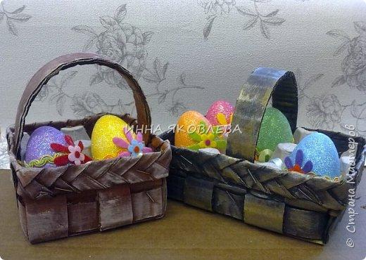 Пасхальные корзиночки на 4 яйца. Очень удобны, как подарочный вариант, но и на столе, в качестве украшения, будут смотреться красиво. фото 1