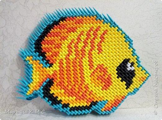 Вот такую яркую рыбку я сложила. Опять использовала диагональную технику складывания. Мне эта техника всё больше нравится. фото 38