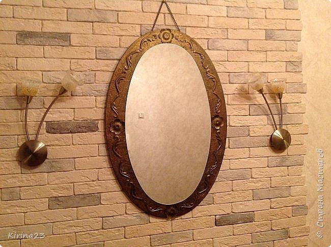 Старинное зеркало из потолочной розетки http://stranamasterov.ru/node/792929 переехало жить в спальню.  Надо было его чем-то заменить . Вот что сотворилось... фото 1