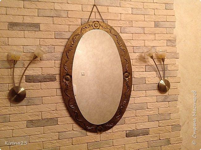 Старинное зеркало из потолочной розетки http://stranamasterov.ru/node/792929 переехало жить в спальню.  Надо было его чем-то заменить . Вот что сотворилось... фото 5